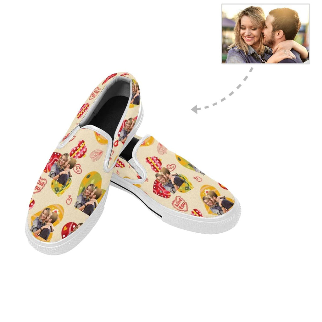 Custom Couple Photo Love Heart Slip-on Canvas Women's Shoes