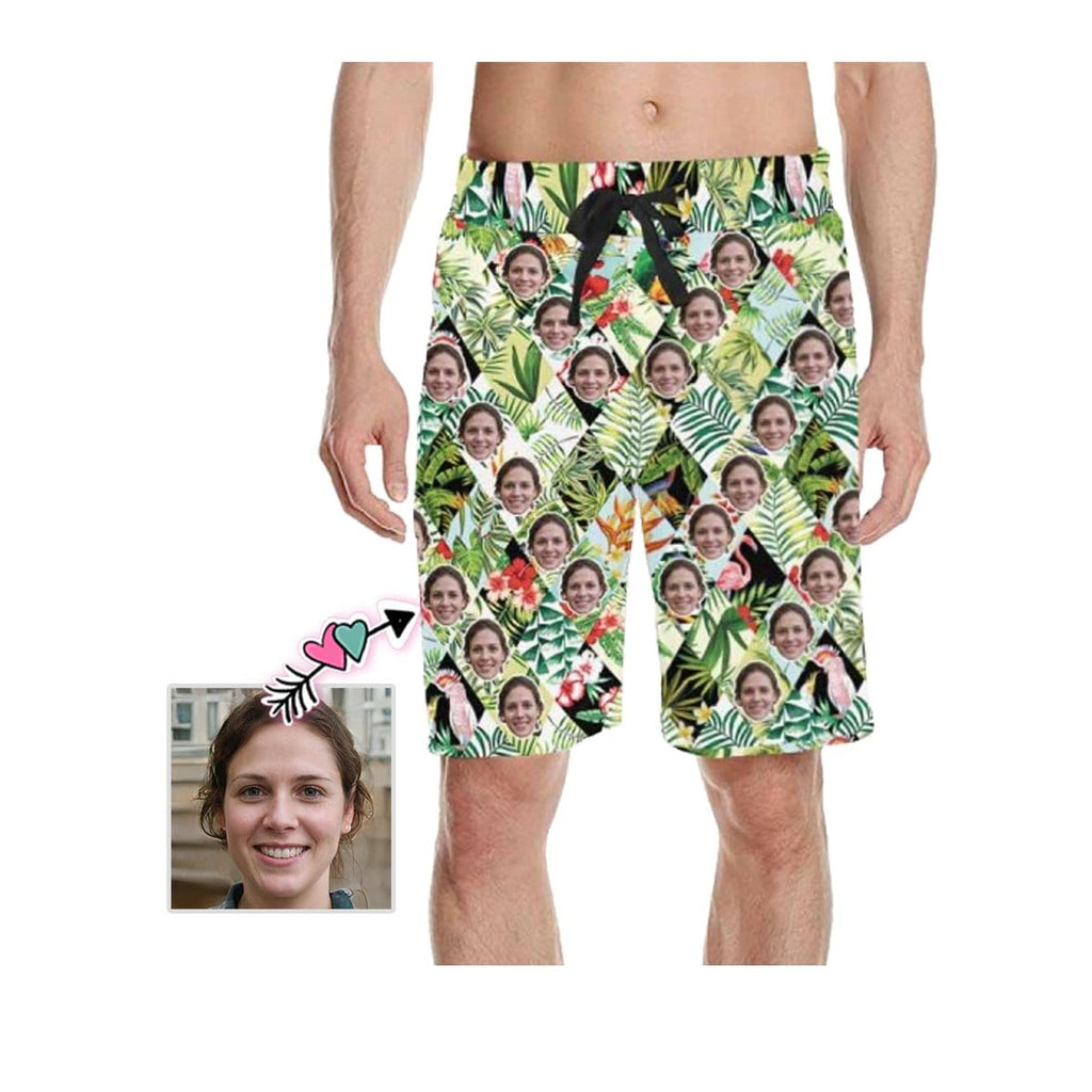 Custom Face All Leaves Men's All Over Print Casual Shorts