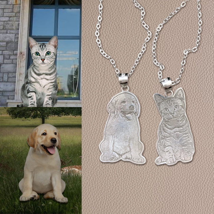 Personalized Pet Photo Engraved Tag Necklace