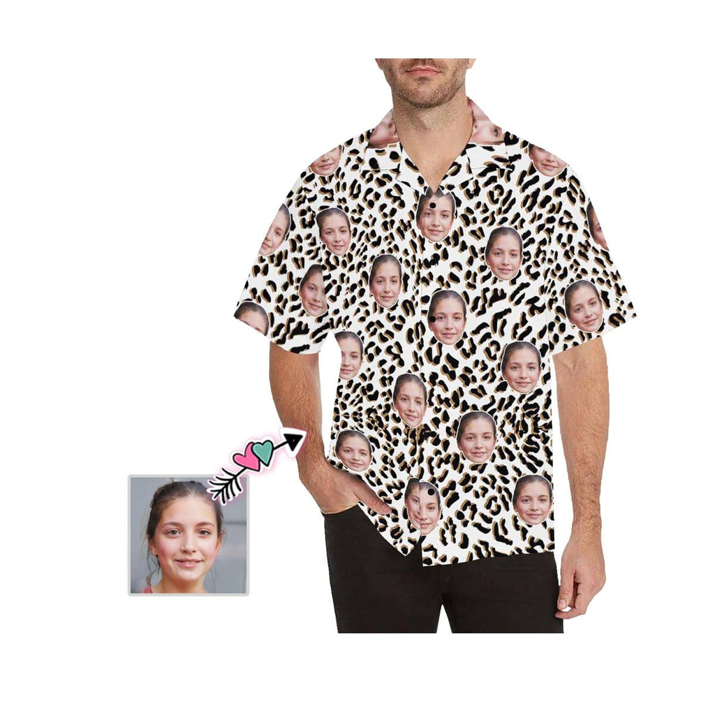 Custom Girlfriend Face Leopard Men's All Over Print Hawaiian Shirt