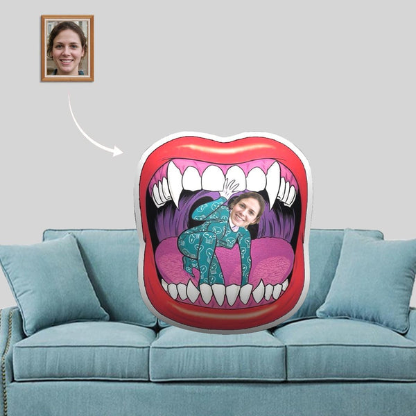 Custom Face Red Lips Mouth Shaped Pillow