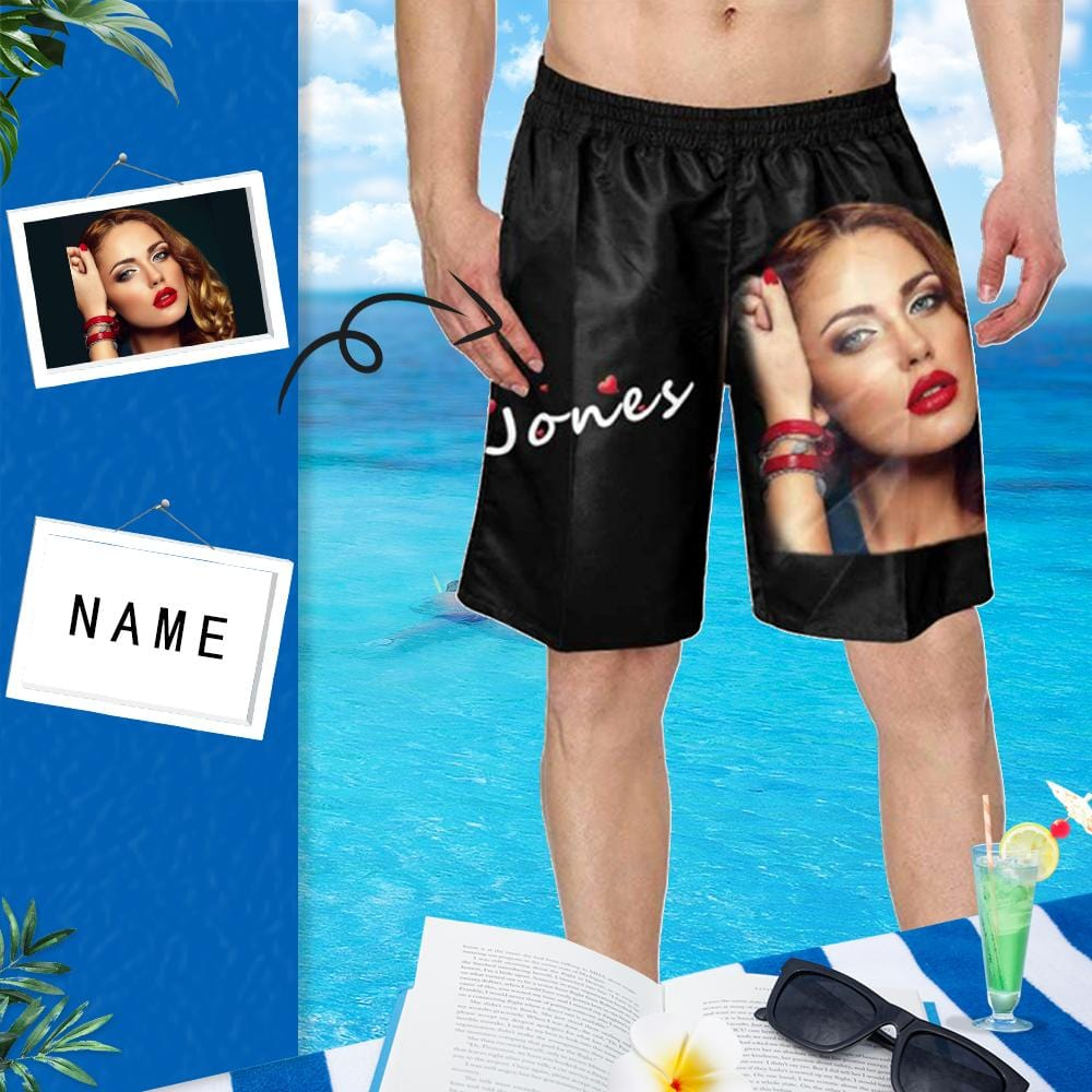 Custom Photo&Name Men's Beach Shorts