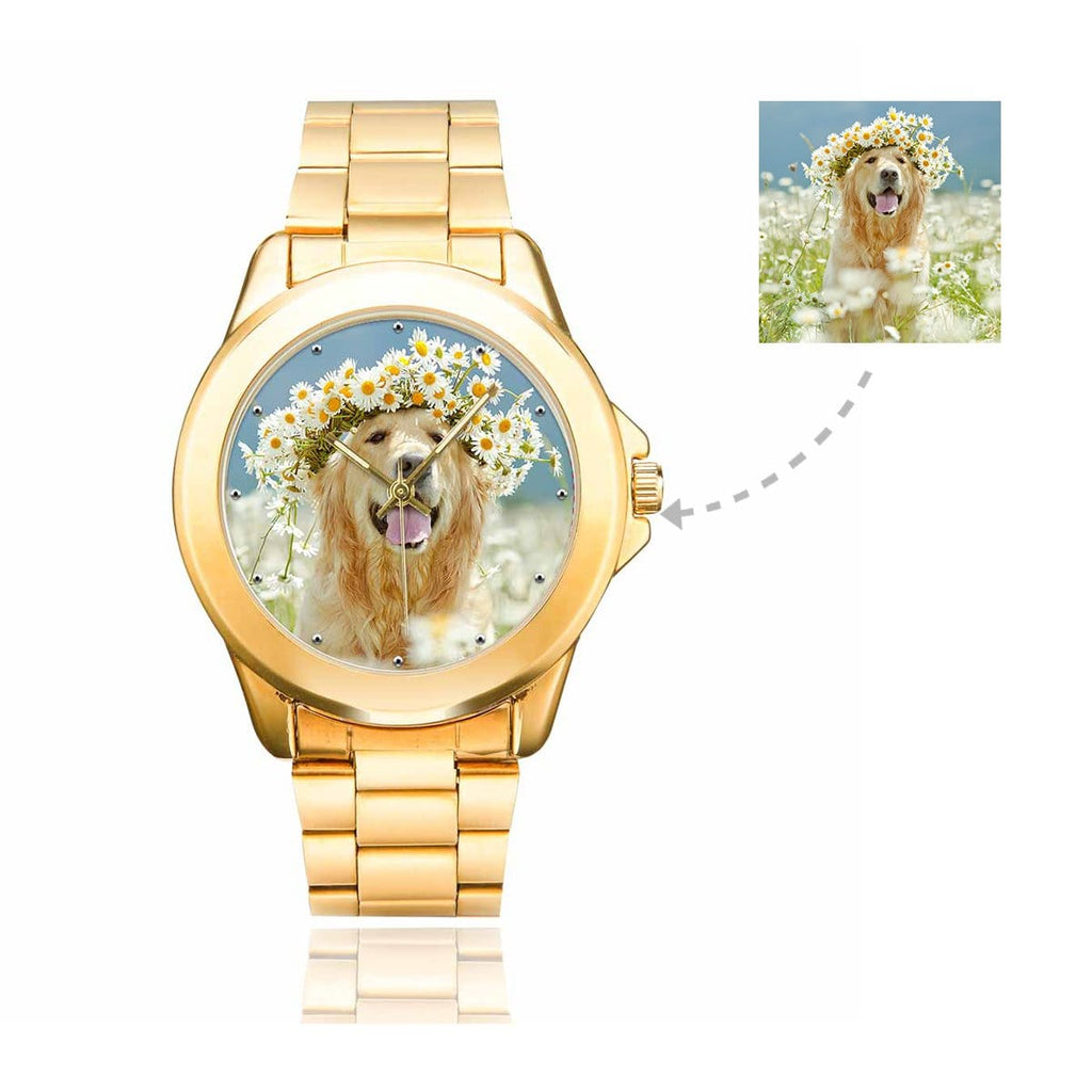 Men's Custom Dog Photo Gilt Watch, Stainless Strap