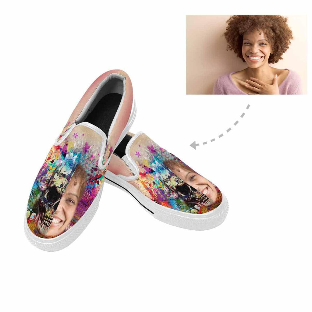 Custom Face Watercolor Skull Slip-on Canvas Men's Shoes