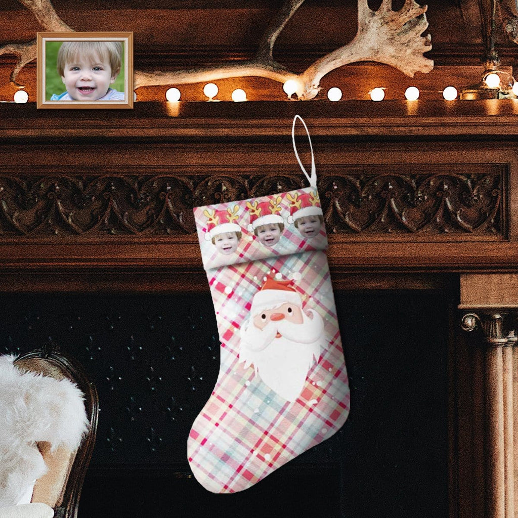 Custom Face Santa Plaid Christmas Stocking
