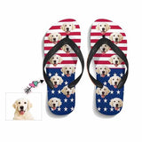 Custom Dog Face American Flag Flip Flops