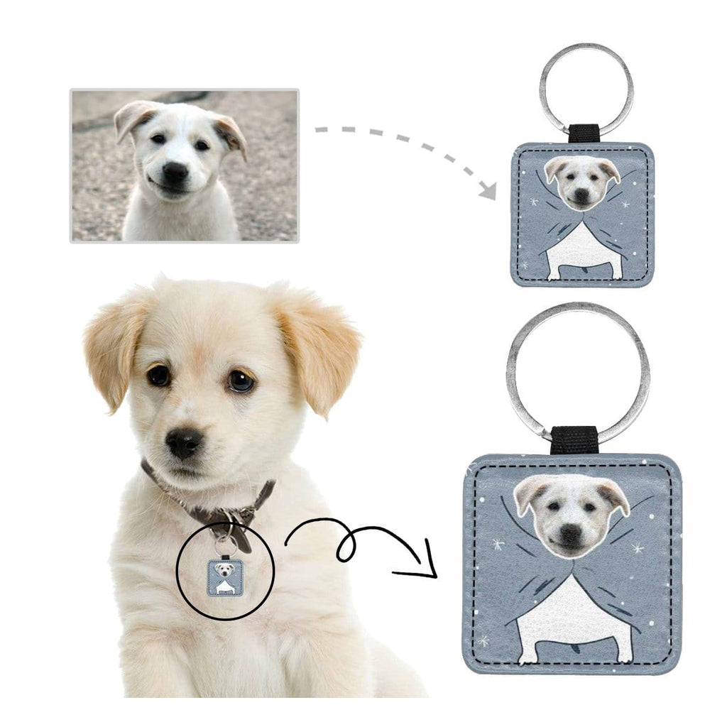 Custom Face Quilt Square Pet ID Tag