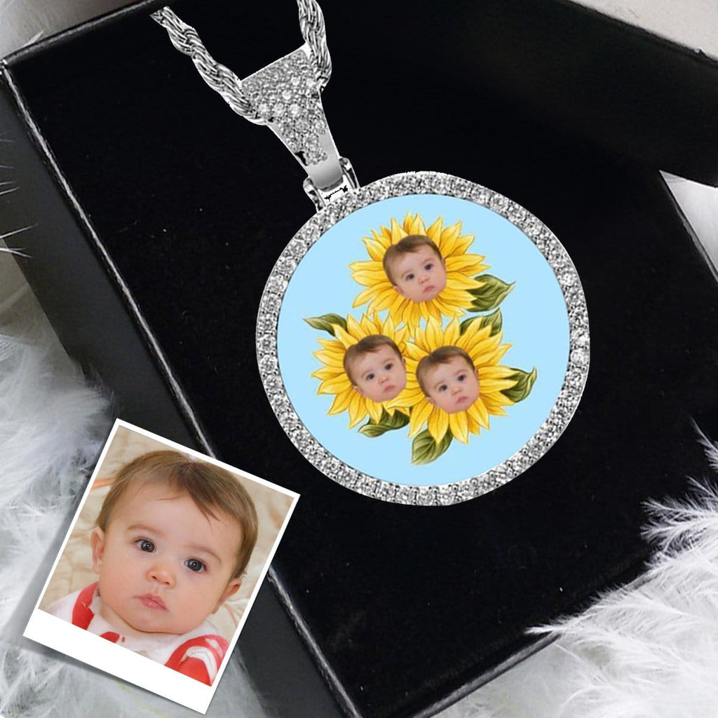 Custom Face Sunflower Round Silver Photo Pendant with Rope Chain