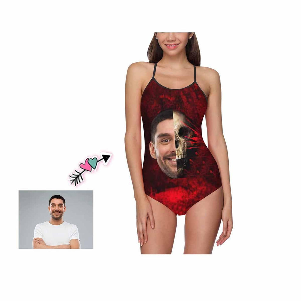 Custom Face Red Skull Women's Slip One Piece Swimsuit