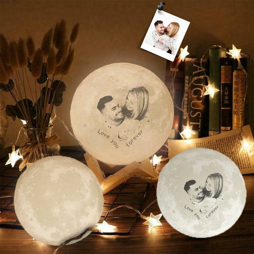 Custom Photo Love You Forever Engraved Moon Lamp