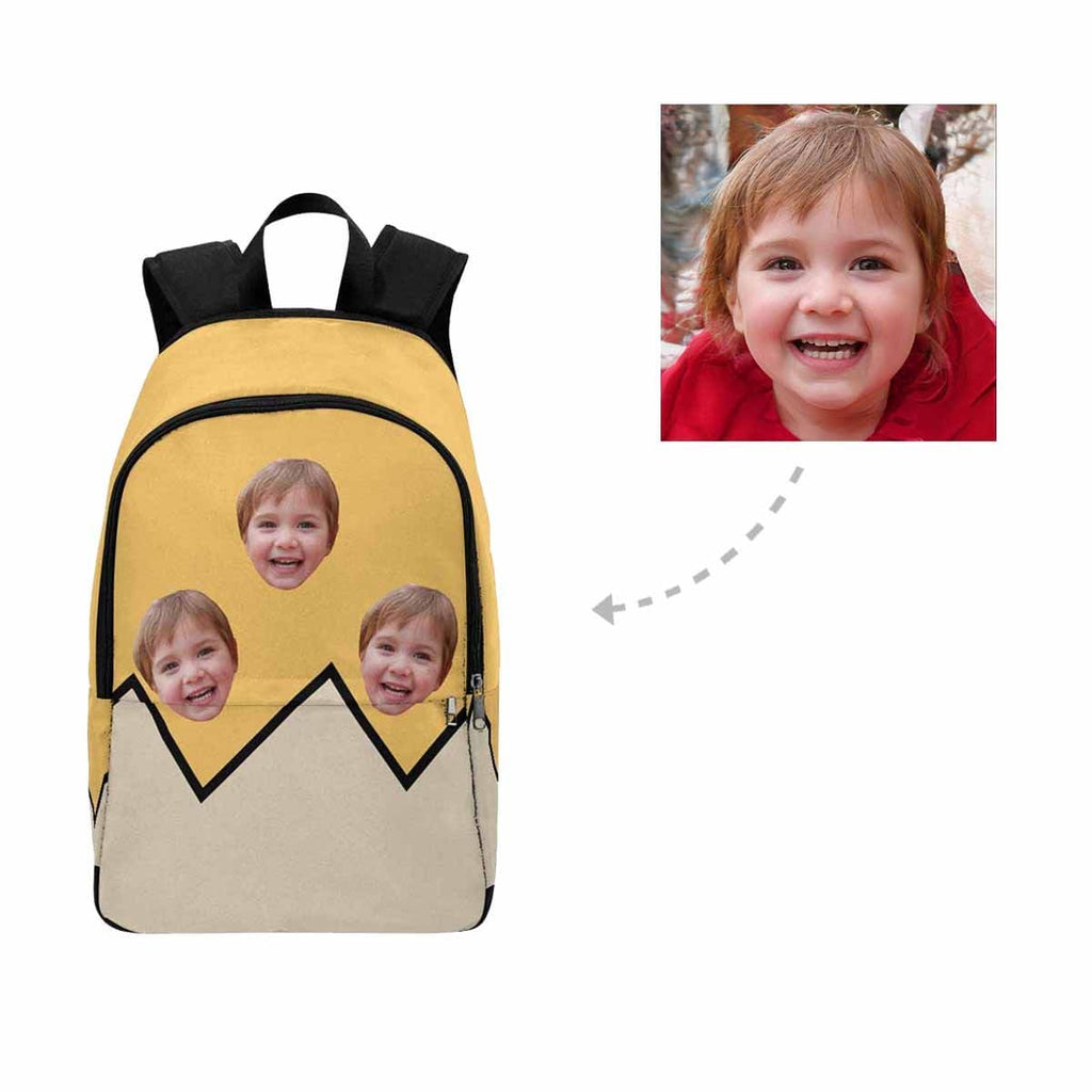 Custom Face Yellow Casual Backpack