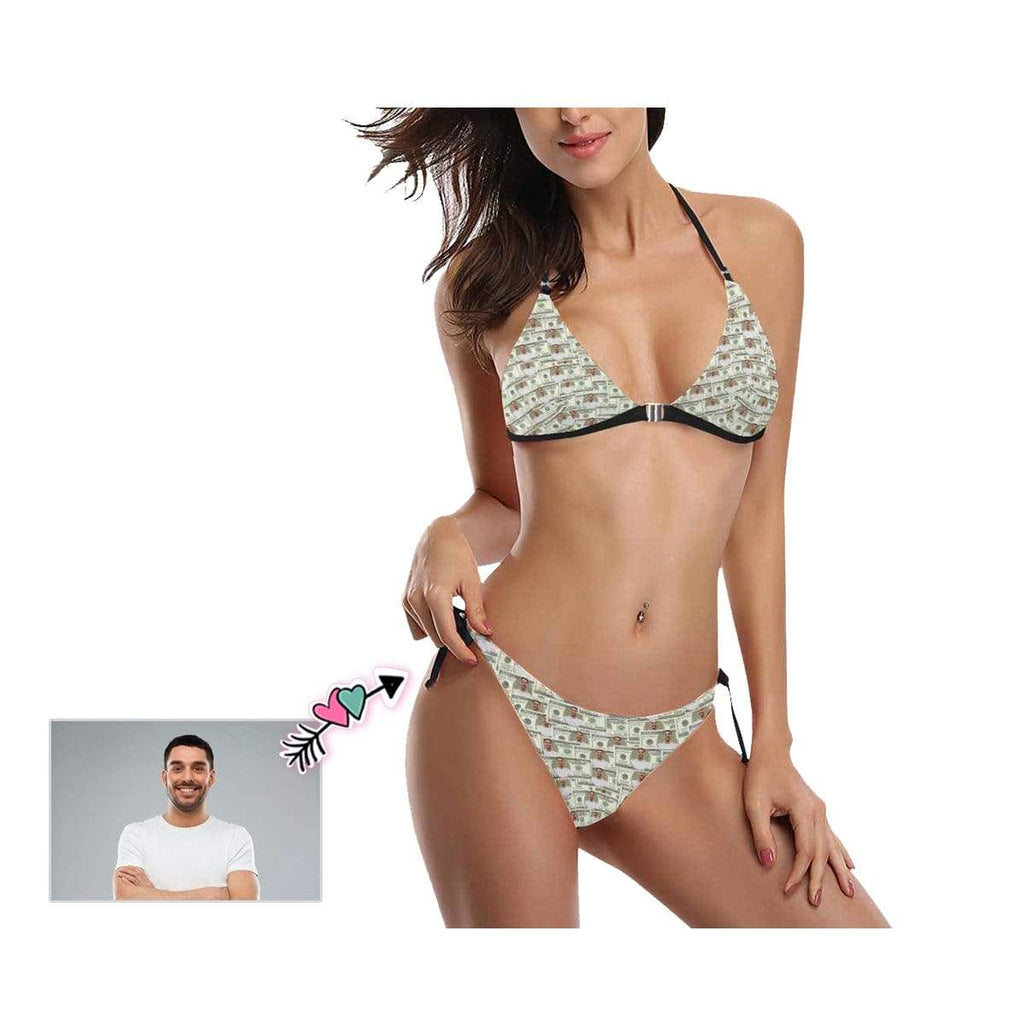 Custom Face Dollar Sexy Halter Bikini Swimsuit