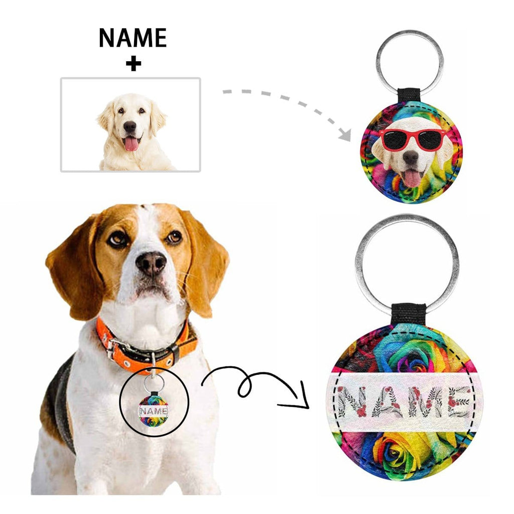 Custom Face&Name Rose Round Pet ID Tag