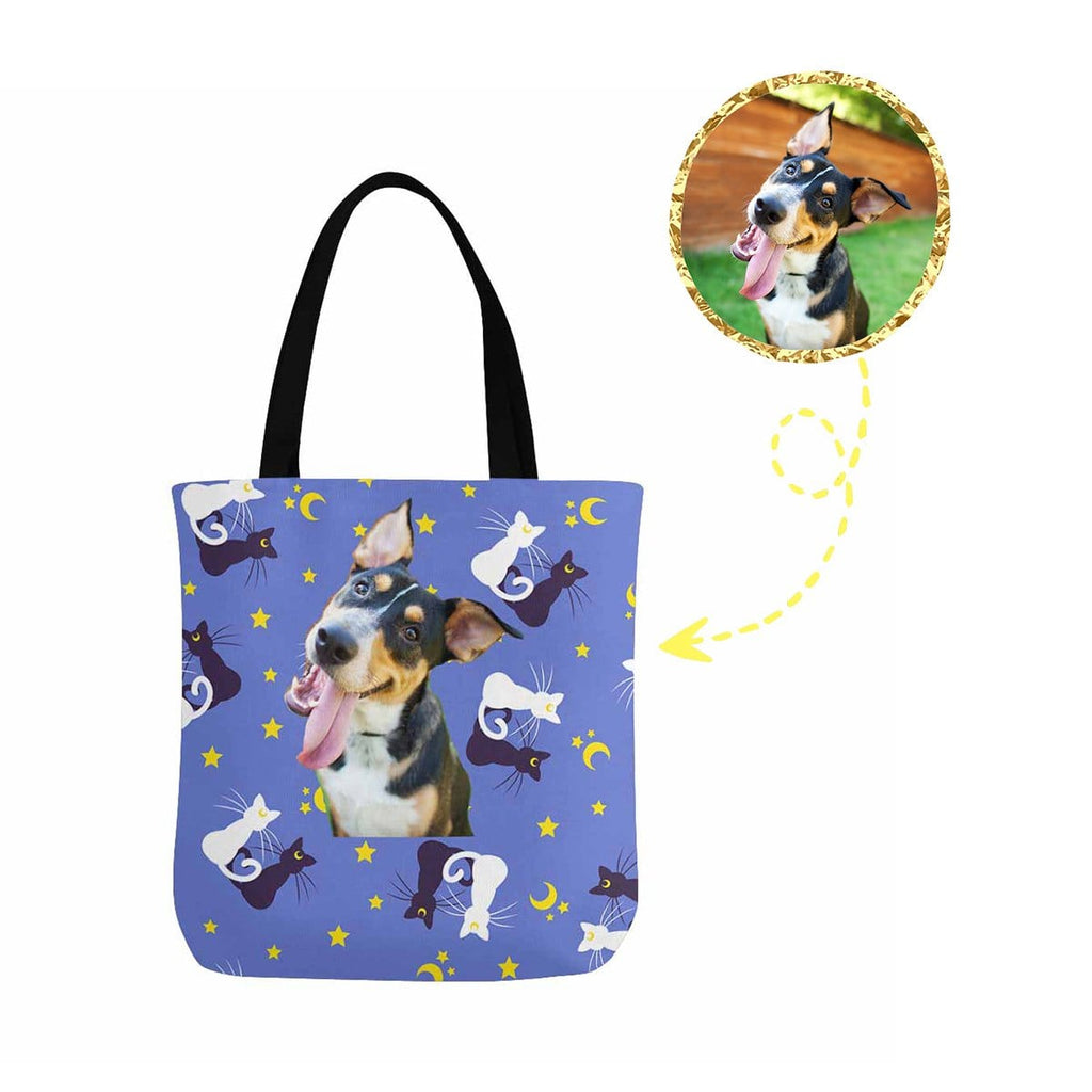 Custom Dog Cat Pattern Canvas Tote Bag