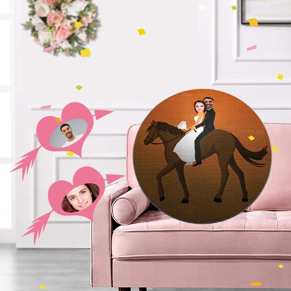 Custom Face Horseback Riding Shaped Pillow