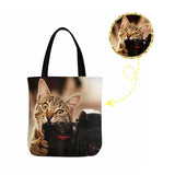 Custom Cat Photo Canvas Tote Bag