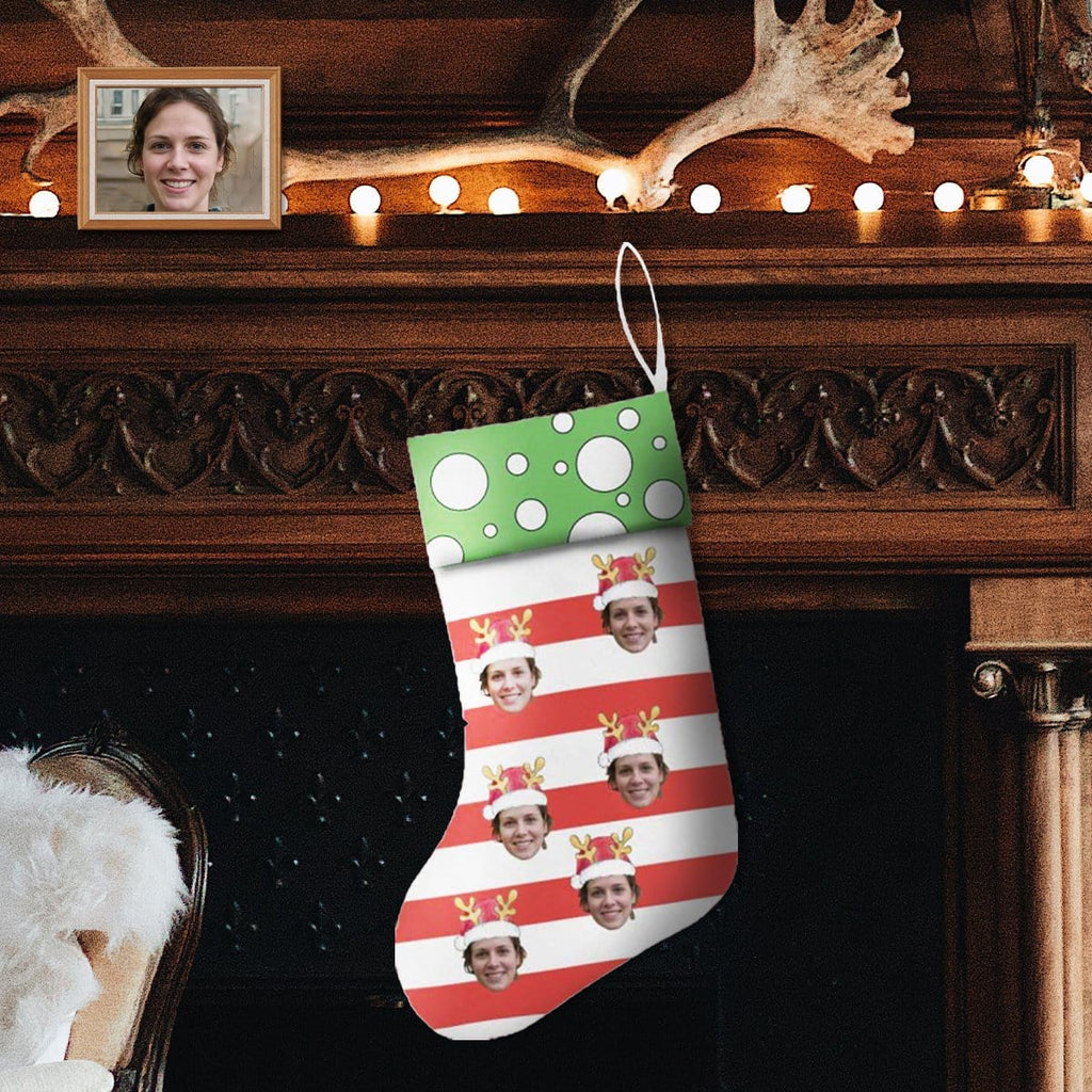 Custom Face Stripe Christmas Stocking