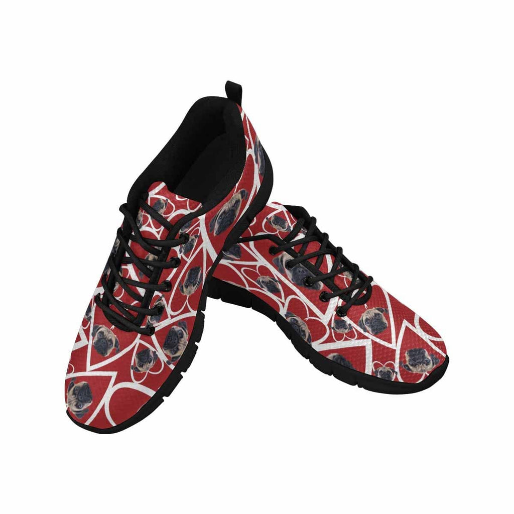 Custom Dog Face Red Heart Women's Running Shoes