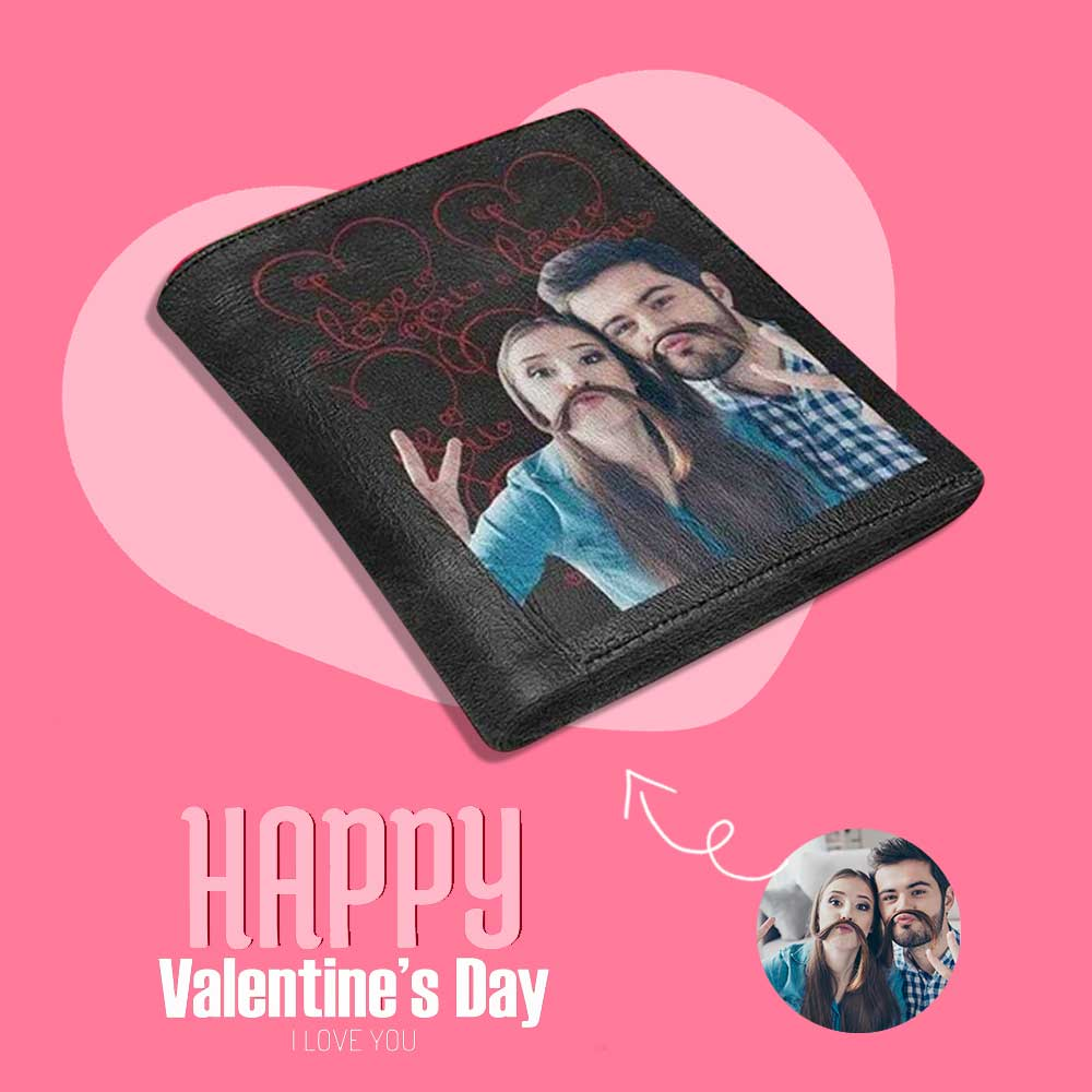 Custom Photo Love You Couple Hair Genuine Leather Wallet