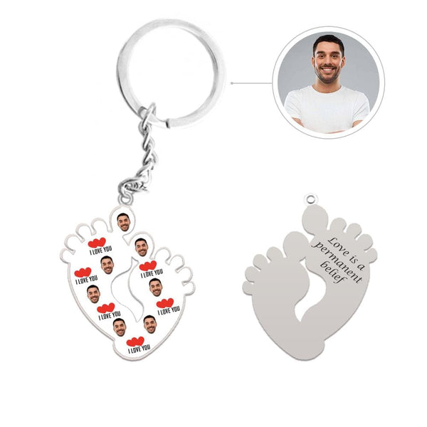 Custom Face I Love You Feet Shape Silver Keychain