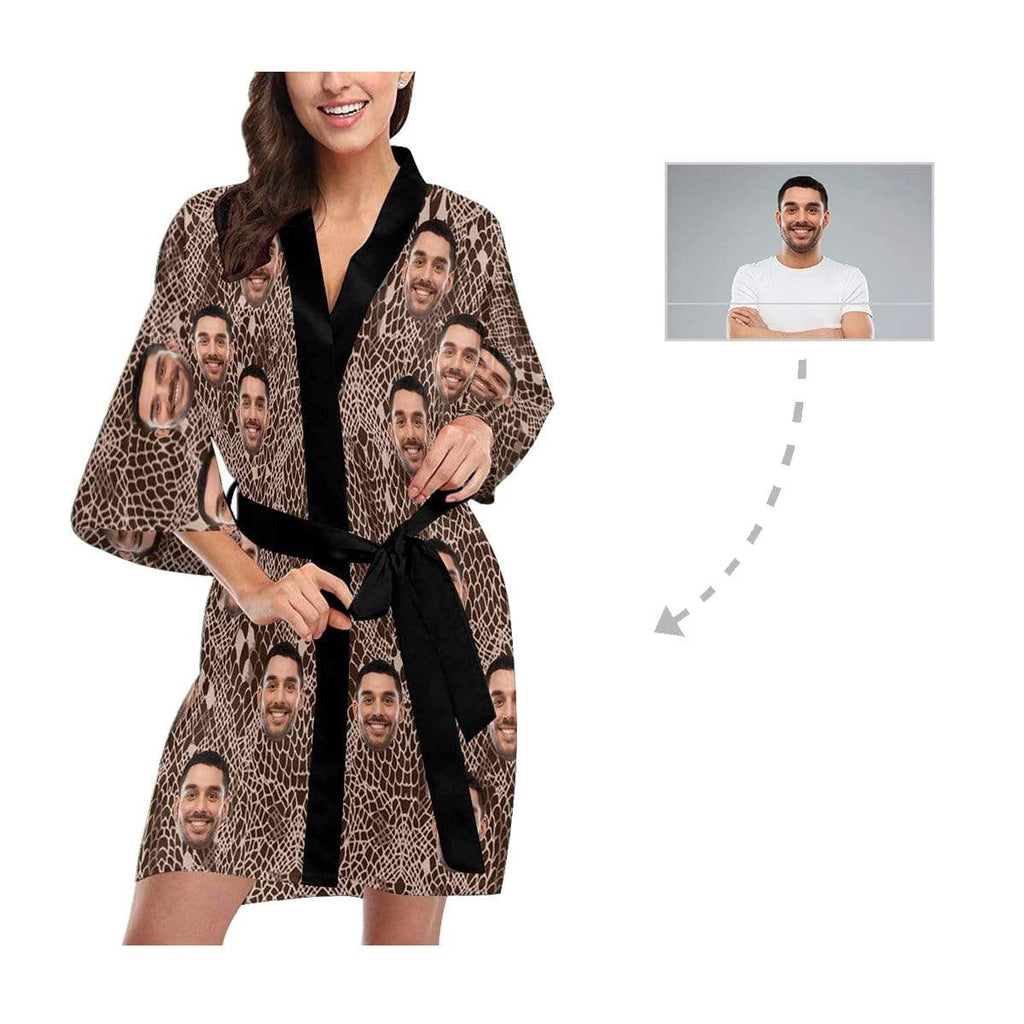 Custom Face Snake Pattern Women's Short Kimono Robe