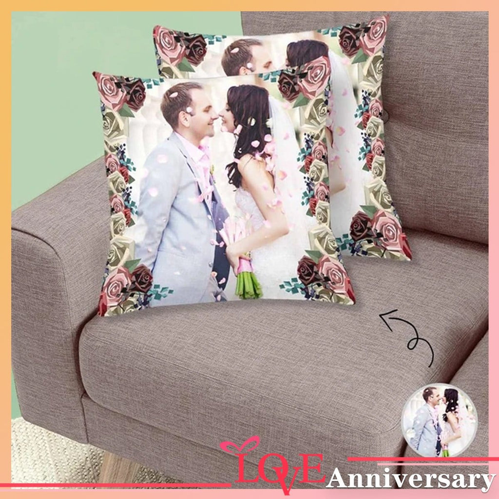 Custom Wedding Couple Floral Throw Pillow Cover