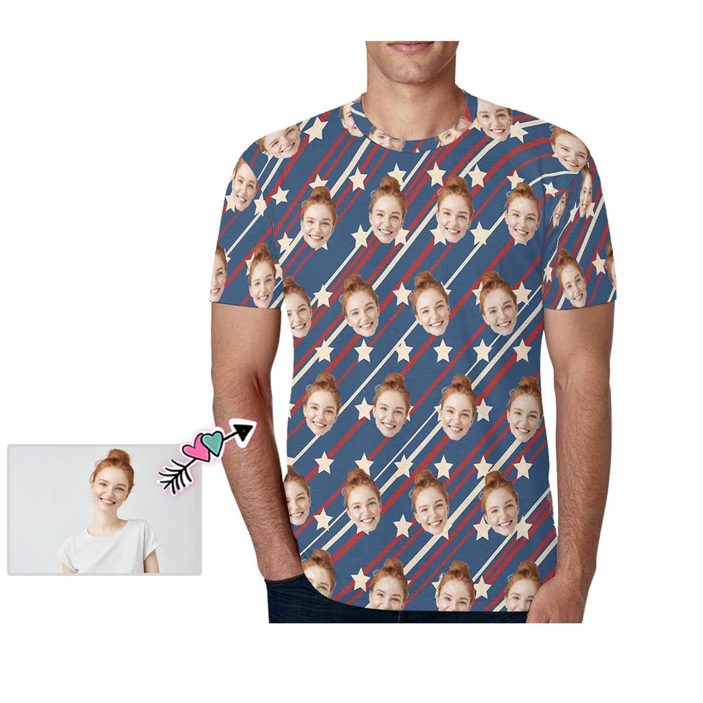 Custom Girlfriend Face Line & Stars Men's All Over Print T-shirt