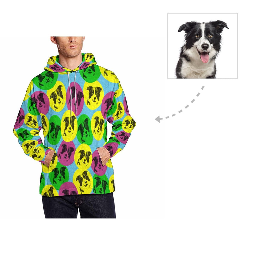 Custom Colorful Dog Men's All Over Print Hoodie