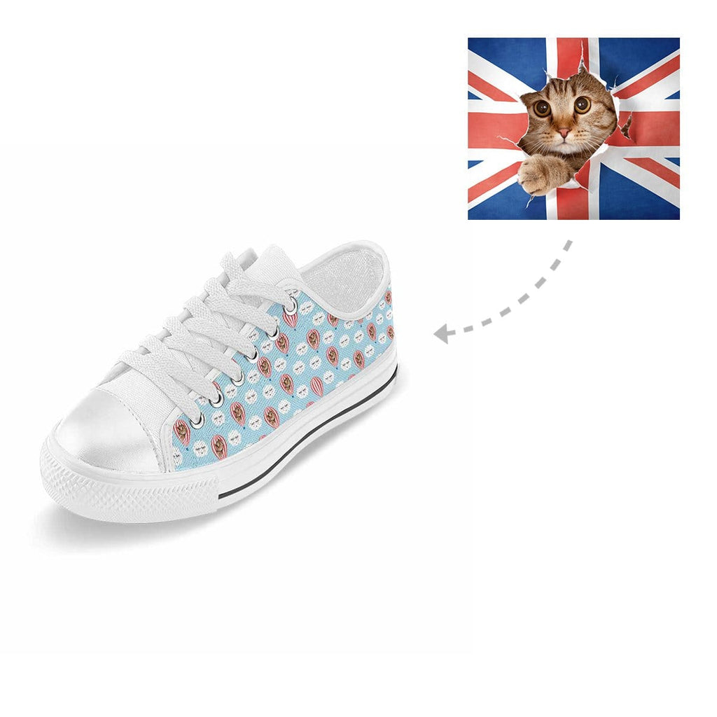 Custom Cat Hot Air Balloon Cloud Aquila Low Top Canvas Shoes