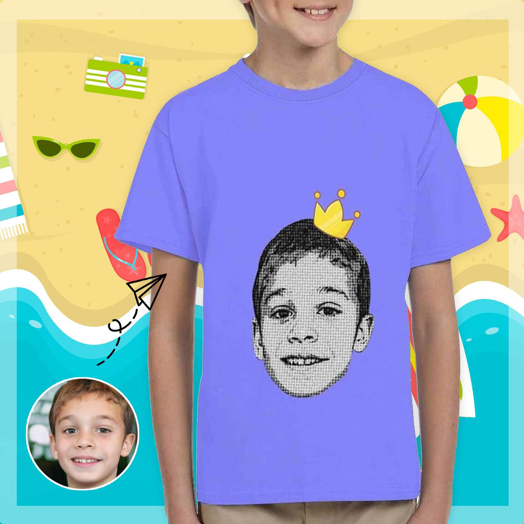 Custom Face Cartoon Crown Kid's All Over Print T-shirt