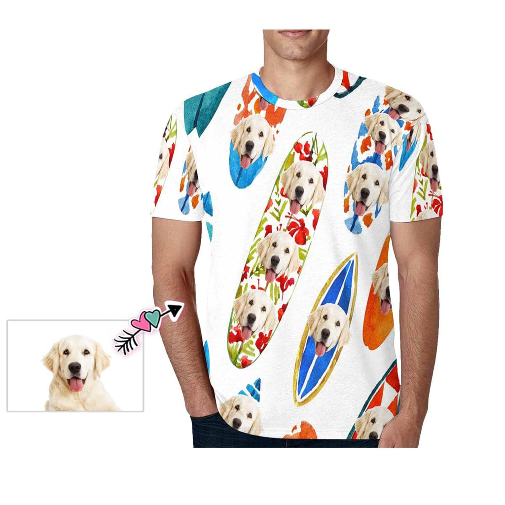 Custom Dog Face Watercolor Surfboard Men's T-shirt