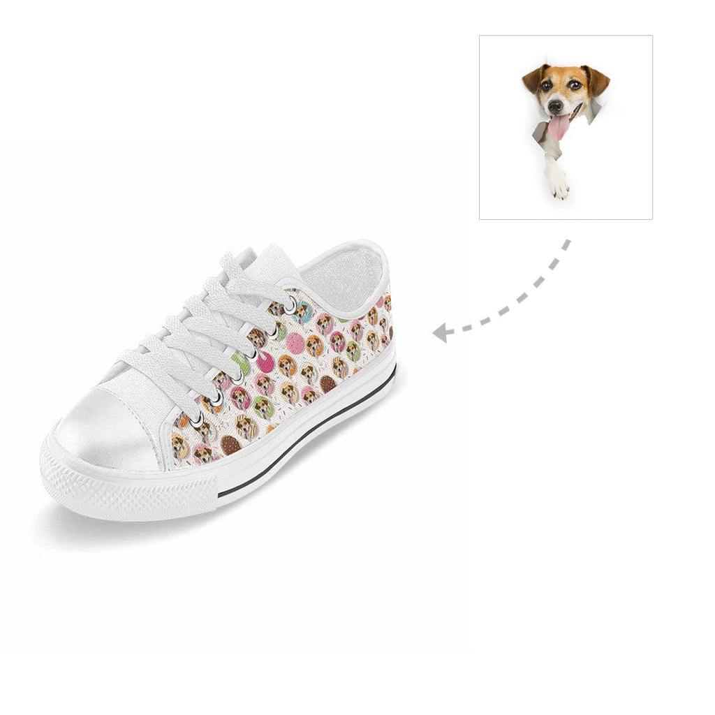 Custom Donuts Dog Aquila Low Top Canvas Shoes