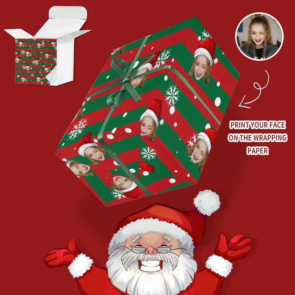 Custom Face Snowing Christmas Gift Wrapping Paper