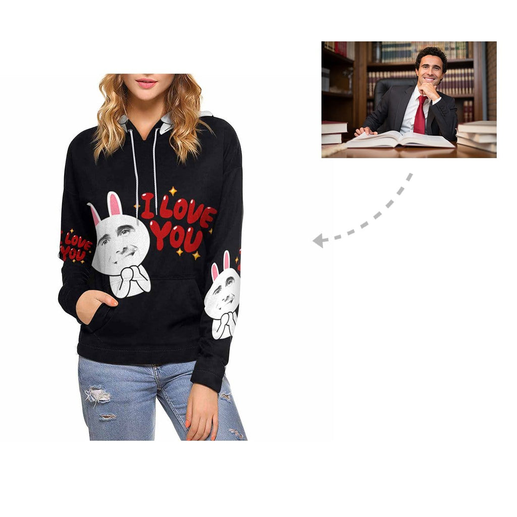 Custom Men Face Rabbit Women's Hoodie