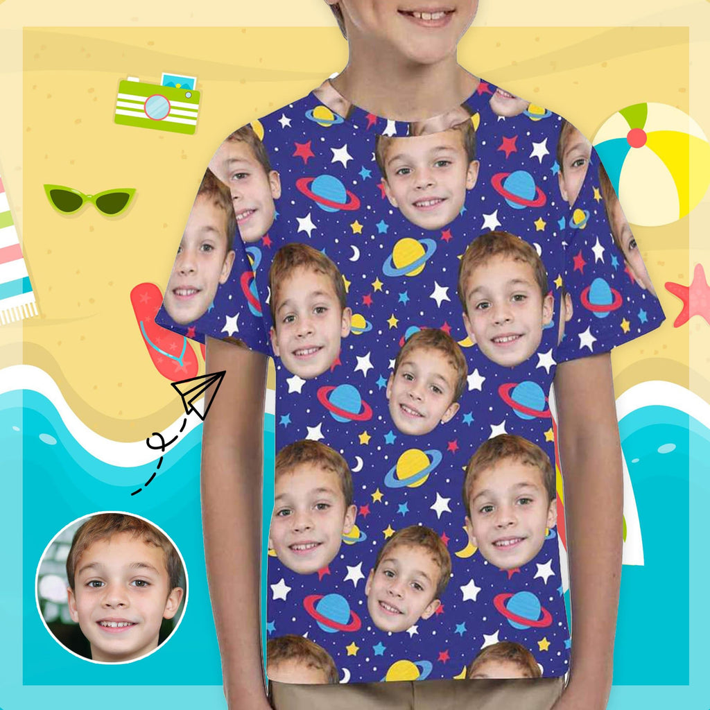 Custom Face Galaxy Planet Kid's All Over Print T-Shirts