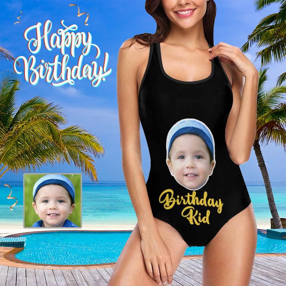 Custom Face Birthday Kid Women's Tank Top Bathing Swimsuit