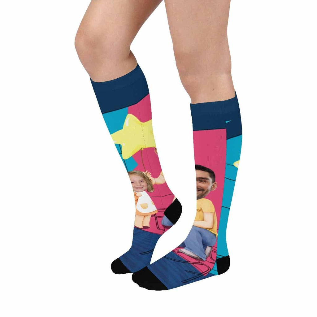 Custom Face Star Over-The-Calf Socks