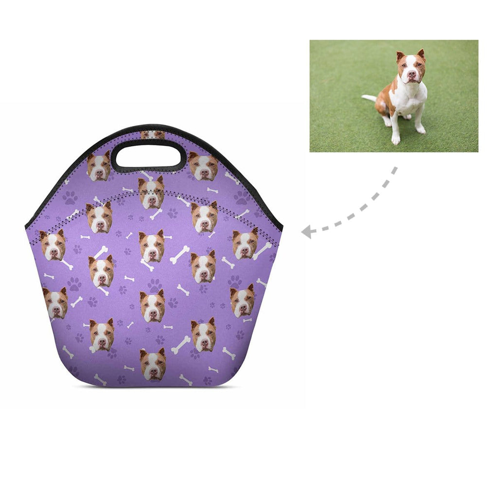 Custom Pit Bull Face Paw and Bone Neoprene Lunch Bag