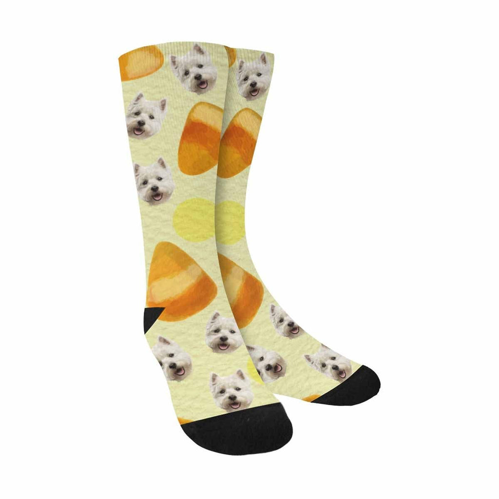 Custom Dog Face Bread Sublimated Crew Socks