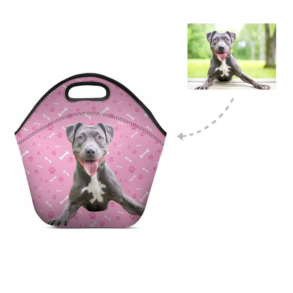 Custom Pit Bull Paw and Bone Neoprene Lunch Bag