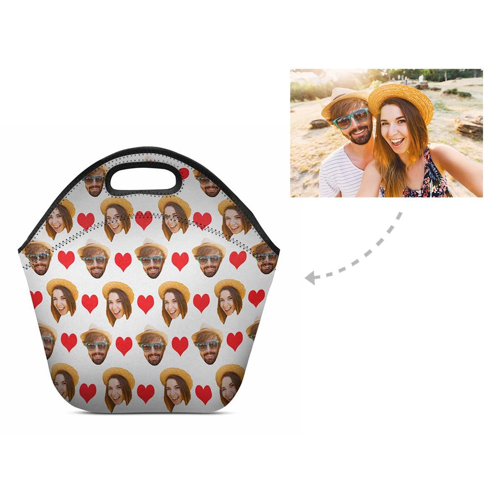 Custom Couple Love Heart Neoprene Lunch Bag
