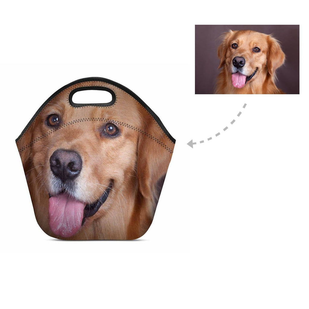 Custom Golden Retriever Face Neoprene Lunch Bag