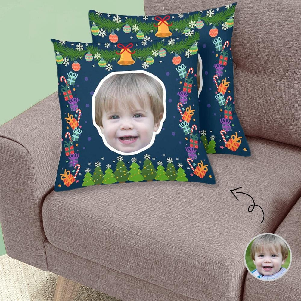 Custom Face Gift Bell Throw Pillow Cover