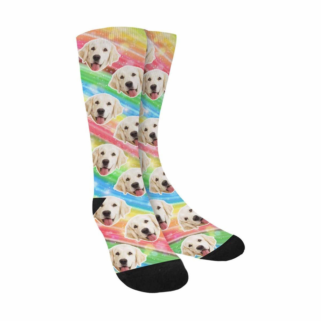 Custom Face Dog Colorful Stripes Sublimated Crew Socks