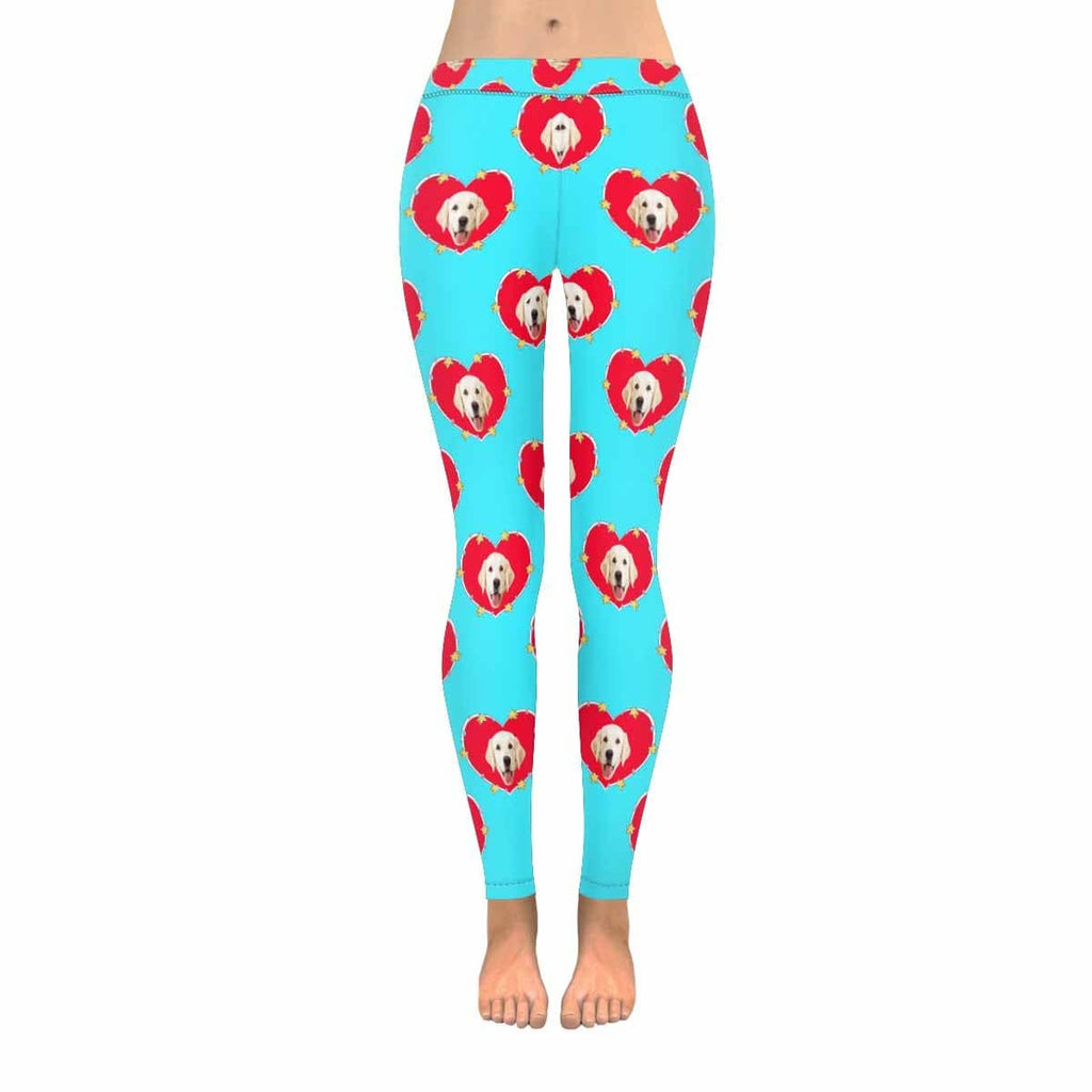 Custom Dog Face Love Heart Low Rise Leggings