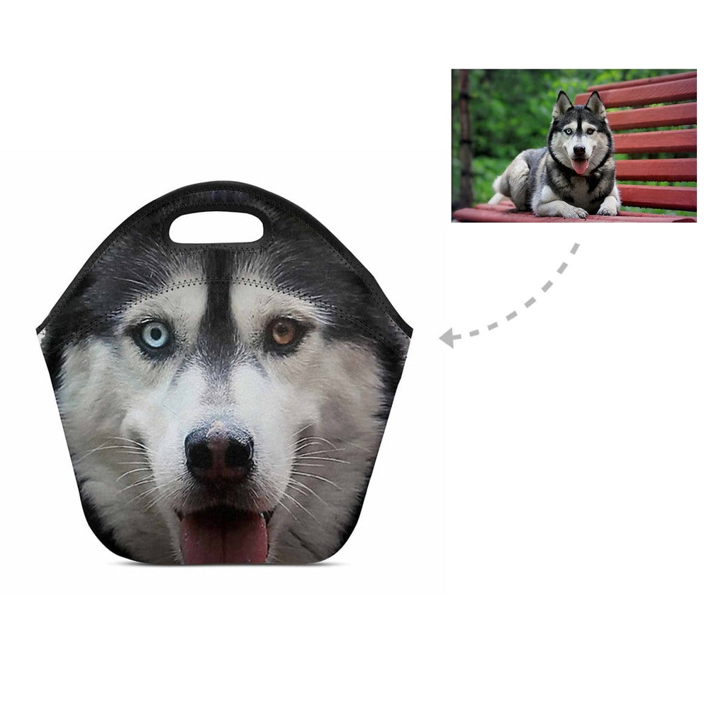 Custom Husky Face Neoprene Lunch Bag