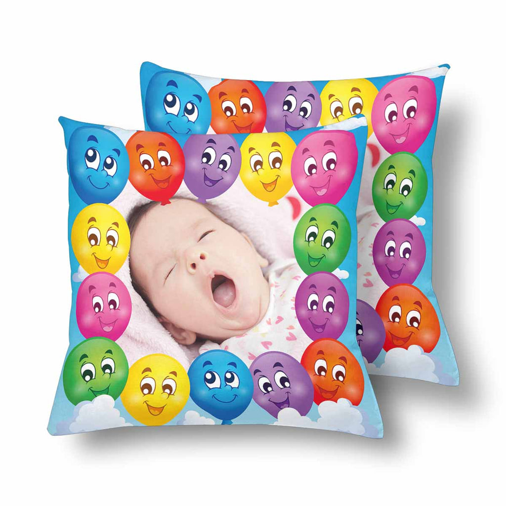 Custom Baby Photo Colorful Emoji Throw Pillow Cover