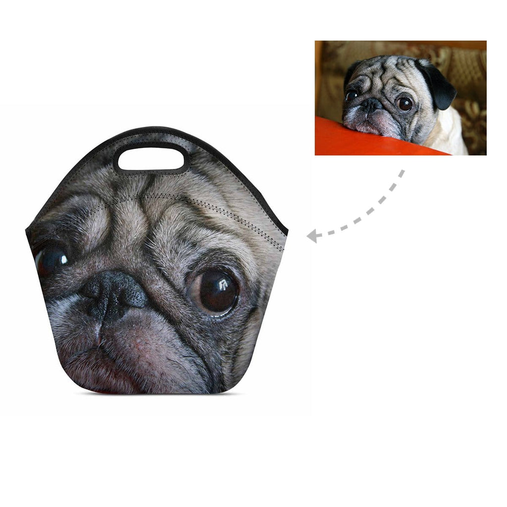 Custom Pug Face Neoprene Lunch Bag