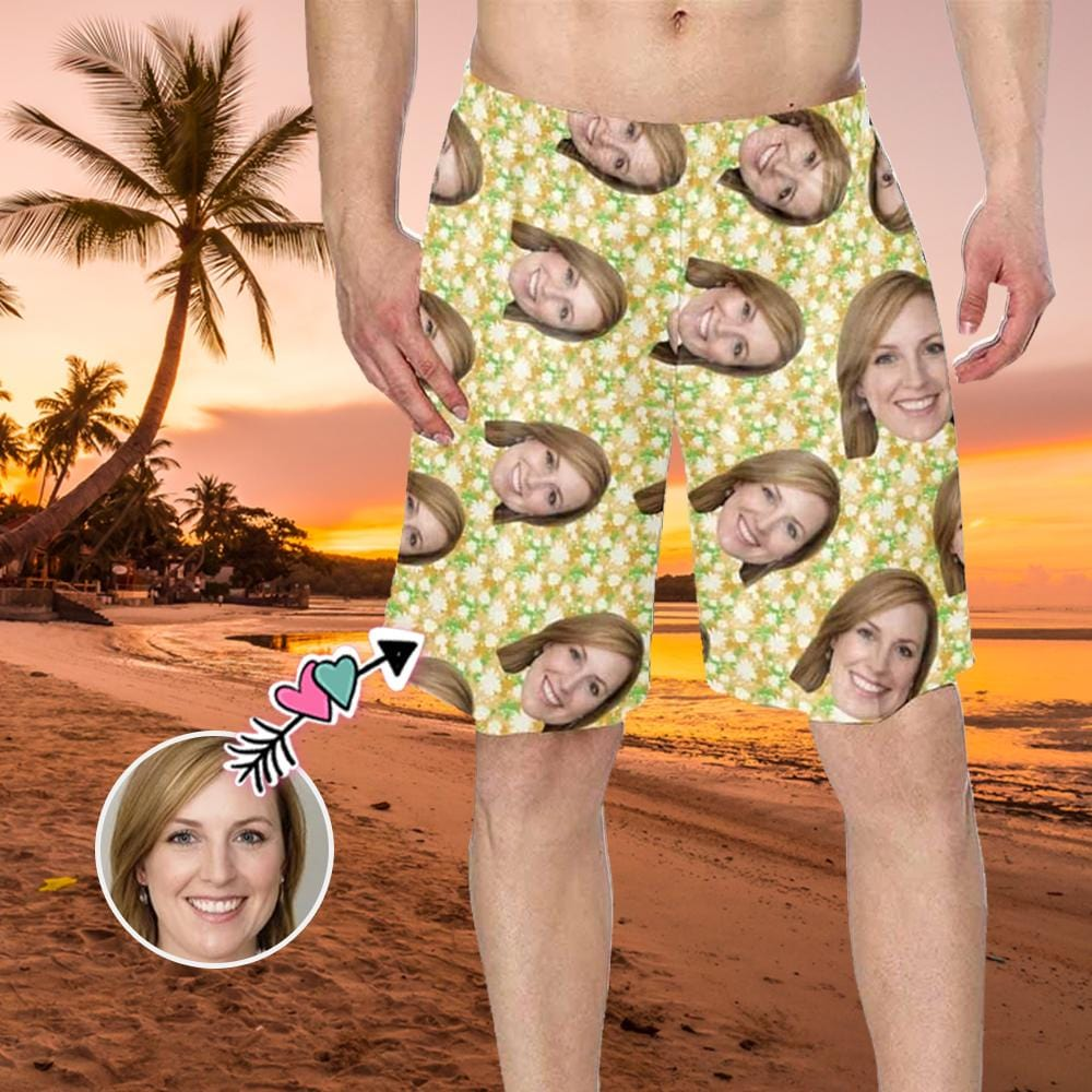 Custom Girlfriend Face Floral Pattern Men's Swim Trunk