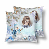 Custom Girl Christmas Snowman Throw Pillow Cover
